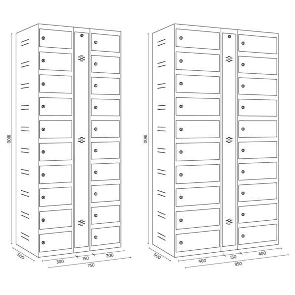 armoire pour stocker et charger jusqu'à 20 portables ou tablettes